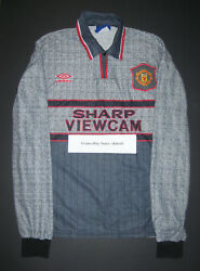 1995-1996 Umbro Manchester United Long Sleeve Player Issue Away Jersey Shirt Kit