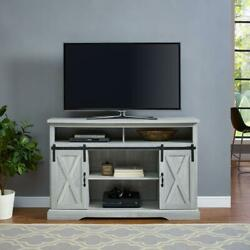 Tv Stand 52 In. Farmhouse Style Cable Management Stone Gray Wood Composite Door