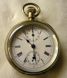 Vintage Chrono-micrometer Silver Pocket Watch Late 1800and039s