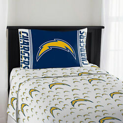 New Nfl Los Angeles Chargers 3 Pc Bed Twin Sheet Set With One Pillow Case Cover