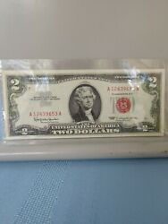1963 Two Dollar Red Seal Bill