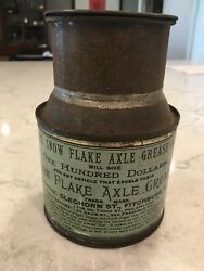 Amazing Rare 1890's Antique The Snow Flake Axle Grease Tin Can Bucket Gas And Oil