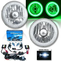 5-3/4 Green Smd Led Halo Crystal Clear Glass H4 Headlight And 6000k Hid Bulb Pair