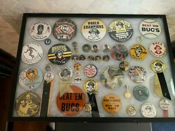 Vintage Framed Pittsburgh Pirates Pin Collection-some Very Rare -authentic