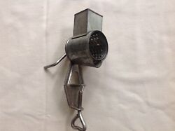 Antique Nutmeg Spice Grater Table Mount Crank Handle Tin And Metal
