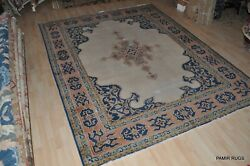 19th Century 9and039 X 12and039 Antique Tabris Rug Beige Royal Blue Salmon Coral Stressed