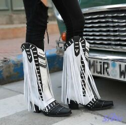 Womens Knee High Real Leather Tassel Pull On High Block Heel Cowboy Boots Punk W
