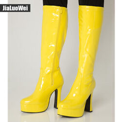 Gothic Womens Knight Mid Calf Boots High Block Heel Motorcycle Punk Combat Shoes