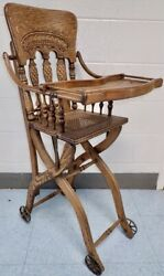 Ornate Antique Oak Child's High Chair And Stroller Carriage Combination