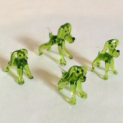 VTG 80s MURANO Style Hand Blown Glass BEAGLE DOG Figurines Set Italy Miniatures