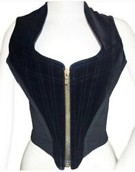Vivienne Westwood Gold Label Couture Corset Front Zipped In Black Velvet