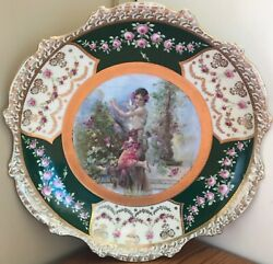 Vtg Royal Vienna China Austria Hand Painted Plate Beehive Woman Flowers Antique