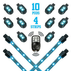 Light Blue - 10xpod + 4x8strips Single Color Led Accent Glow Light Motorcycle