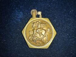 Rare Antique Ww I Saint George And Joan Of Arc Hexagon Trench Lighter