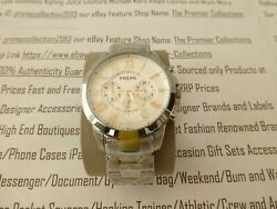 Fossil Mens Wrist Watch Grant Chronograph Silver Stainless Steel Watches Bnib