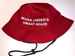 Donald Trump 2020 MAGA Red Bucket Hat With Black String $13.99