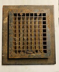 """Vintage Cast Iron 10"""" X 12"""" Heating Grate Register With Trim Ring"""