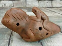 """Vintage Clay Terra Cotta Lizard And Frog Ocarina Flute Whistle 6.5"""" With 8 Holes"""