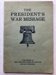 1917 Wwi Booklet Of Woodrow Wilson's War Message Given To Congress