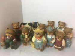 Vintage Collectible Miniature Bears Lot Of 10 Resin Figurines 1992, Tht