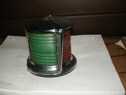 Vintage Chrome Red And Green Bow Light Bin 810 Nautical