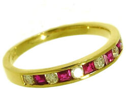 R165 Genuine 9k Or 18k Gold Natural Diamond And Ruby Ring Eternity Wedding Band