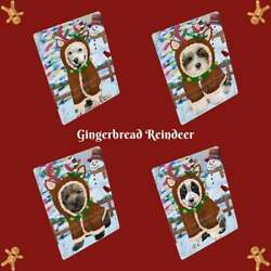 Christmas Gingerbread Reindeer Dog Cat Pet Photo Tempered Glass Cutting Board