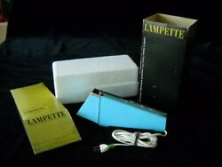 Vintage Lampette E4 High Intensity Turquoise Lamp In Box Mid Century Desk Lamp