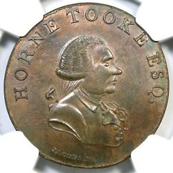 1790and039s Dandh-876b Ngc Ms 63 Bn Middlesex - Spenceand039s Gr Brit Conder Token 1/2p