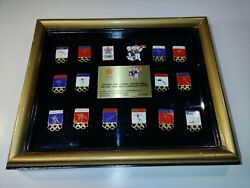 Framed Set Of 16 Vintage Olympic Pin Badge Calgary 1988 Winter Games