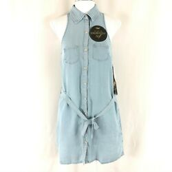 YMI Shift Dress Chambray Button Down Belted Sleeveless Pockets Blue Size S $19.99