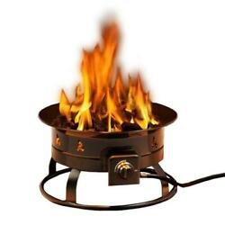 Heininger Portable Fire Pit Propane Gas Adjustable Flame Height Steel Round