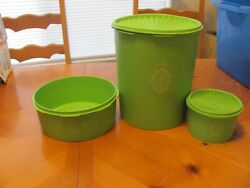 Lot Of 3 Tupperware Green Apple Retro Canisters 1339 1204 3 Containers 2 Lids