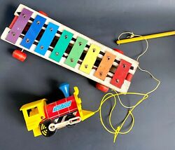 1964 Fisher Price No. 873 Pull-a-tune And No. 643 Toot Toot Wooden Pull Toys