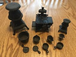 Antique Cast Iron Cook Stoves Salesman Sample Miniature Toys And Coinbank