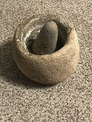 8 1/2 Inch Stone Bowl And Pestle California Nice