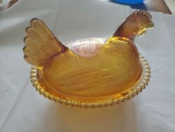 Vintage Carnival Glass Iridescent Amber Chicken Hen Nest Covered Candy Dish
