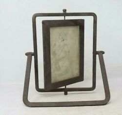19th C Antique Old Collectible Iron Handcrafted Design With Stand Photo Frame