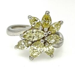 Light Yellow Marquise Diamond Cluster Ring 2.00 Cttw In Platinum - Hm2141sa