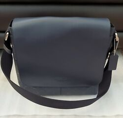 Coach Charles Small Messenger Signature Cross grained NAVY F28577 NWT Gift Idea $159.98