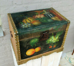 Vintage French 1960 Wood Box Chest Hand Paint Fruit Floral Scene