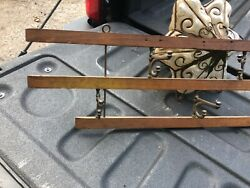Vintage Antique Oak And Iron Wall Hook Rack - Hooks Fold - 33andrdquo X 7.25andrdquo X 3andrdquo Depth
