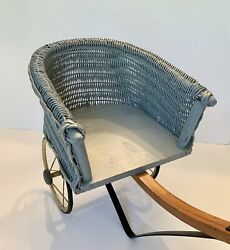Antique Willow Wicker Doll Sulky Carriage, Rubber Wheels, C. 1900 Southbend Toy