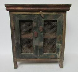 Vintage Old Wooden Hand Carved Almirah Cabinet Cupboard Collectible Tall 18and039