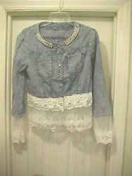 Women's 80's Style Denim Look Button Down Shirt Faux Pearl Neck Lace Long Sleeve