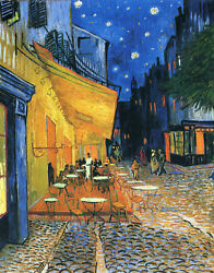 Cafe Terrace at Night by Vincent Van Gogh Giclee Canvas Print in various sizes