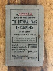 Vintage 1920s Savings Account Book The National Bank Of Commerce St. Louis Mo
