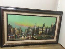 "Original Antique VTG Mid Century  Cityscape Oil Painting On Canvas 24"" 48"" C1950"
