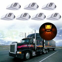 7x Cab Marker Roof Running Top Clearance Lights Amber 17led For Truck Trailer