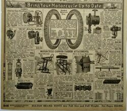 1917 Antique Motorcycle Parts Art Tandem Seat Sears Catalog Page Vtg Print Ad